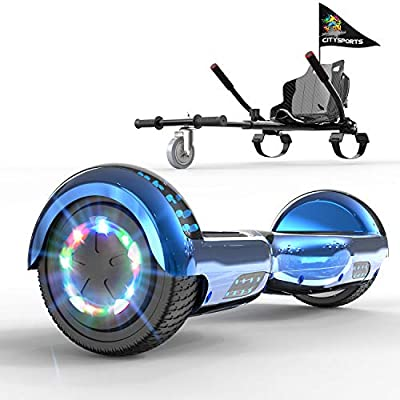 GeekMe Hoverboards 6.5 Inches with go kart seat, Segway hoverkart with LED Lights - Bluetooth Speaker - Flashing Wheels, Gift for kids and adults! (Blue-Black kart New)