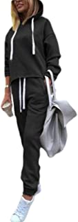 Women's Casual Two Pieces Sweatsuit Pullover Hoodie + Long Pants Tracksuit Set