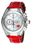 Technomarine Women's Cruise Stainless Steel Quartz Watch with Leather Calfskin Strap, red, 26 (Model: TM-115312)