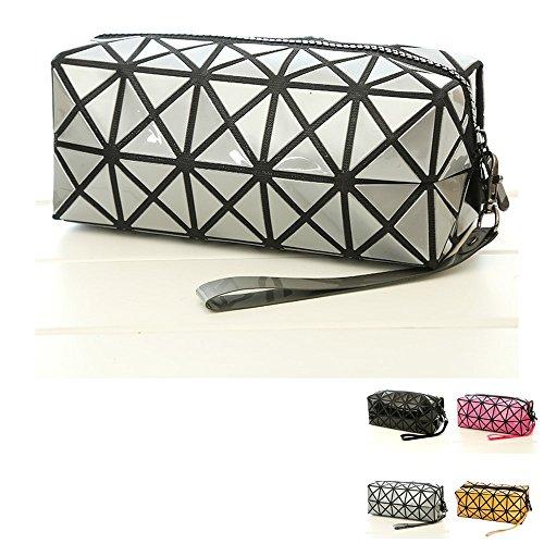 Bolsa de cosmética para el maquillaje, geométrica Plegable Rhombus plegable Grid Cube bolso, herramienta de maquillaje Bolsa de almacenamiento Bolsa de higiene personal Organizador