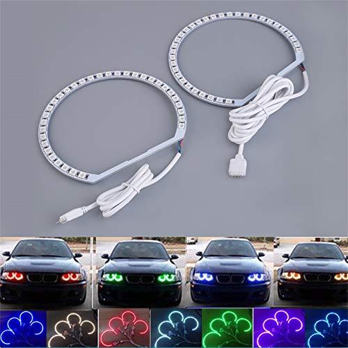Ballylelly 4pcs E36 E38 E39 E46 RGB 4 * 131MM Multi-Color 5050 Flash LED Coche Angel Eyes Kit de Anillos de Faro para BMW Circuito Incorporado