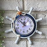 Reloj de pared decorativo de la sala de estar de la forma de la rueda de la nave del timonel de madera, tamaño: 22 * 22 * 2.5cm reloj de pared (SKU : Hc5673a)