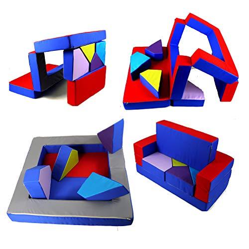 scalesport Spielsofa KG02B 4in1 Kindersofa Spielmatratze für das Kinderzimmer Spielpolster Softsofa Puzzle Kinderzimmersofa Spieltisch Kindermöbel