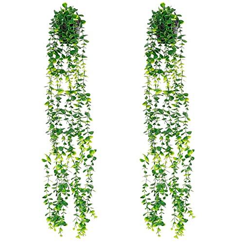 HUIKJI 2Pcs Artificial Plants Vines,Faux Greenery Vines Plastic Plants Vines Waterproof with Flower Pot for Home Indoor Outdoor Wedding Balcony Decor
