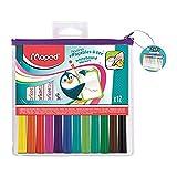 Maped - 12 Feutres Effaçables à Sec Marker'Peps Fun Colors - Feutres Ardoises et Tableaux Blancs...