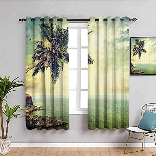 JYDFC Curtains for Bedroom Eyelet - Thermal Insulation Noise Reduction - 3D Digital Printing - Super Soft Thick - Living Room Dining Room Bedroom Guest Room - 72X63 Inch - Green Plants Lake Landscape