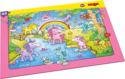 HABA 303706 - Rahmenpuzzle Einhorn Glitzerglück, 25 Teile aus Pappe mit Glitzereffekt, Puzzle für Kinder ab 3 Jahren