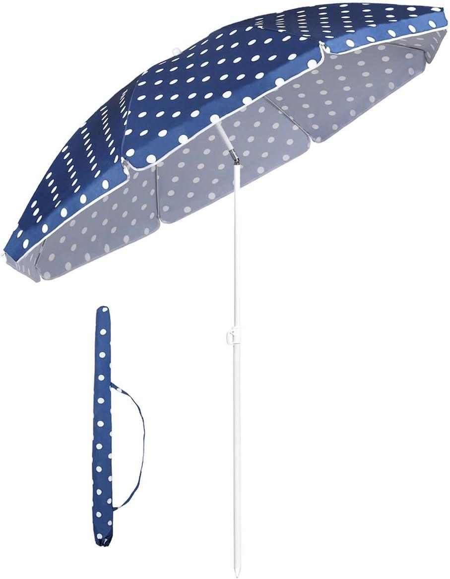 Sekey® Sombrilla Ø 160 cm Parasol para terraza jardín Playa balcón Piscina pati, Protector Solar UV20+ Azul & Blanco