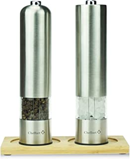 """""""Cheffort"""" Electric Pepper Grinder or Salt Grinder, Automatic Battery Operated Stainless Steel Salt Mills or Pepper Mills,One Handed Operation with LED Light,2 Pieces with Bamboo base tray In Set"""
