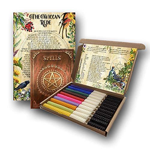 Juego de 30 velas de hechizos, libro de hechizos, multicolor, cera de abejas natural, enrollado a mano, velas rituales, suministros de Wiccan Pagan