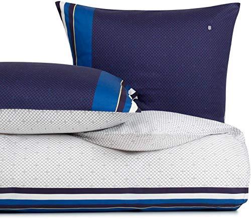 Tommy Hilfiger Ropa de cama Nautical Spirit, color azul marino, tamaño 155 x 220 + 80 x 80 cm, ropa de cama reversible