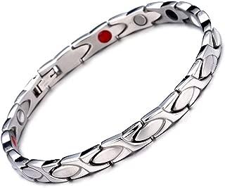 HiTreasure Silver Titanium Steel Magnetic Therapy Negative Ions Germanium Bracelet for Arthritis Pain Relief Men Women