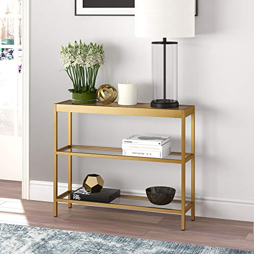 "Henn&Hart Modern Console Sofa 3-Tier Open Shelf, Entryway/Hallway Table for Living Room, Multiple Colors/Sizes, 36"" L, Gold"