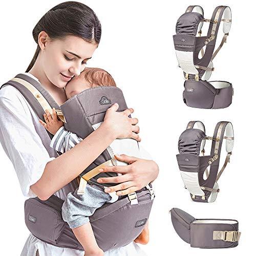 Mochila Portabebé Ergonómico Multifuncional 4 en 1 Fular Porta Bebé con Múltiples Posiciones Suave Ajustable para Niños (Gris)