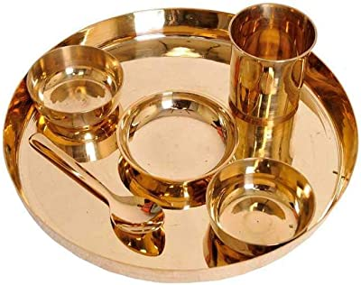 Bronze Thali for Eating Food (According to The Shastras, One Should Eat in a Bronze Thali (Pack of 1 Dinner Set)