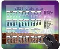 2021年カレンダーマウスパッド、オーロラノーザンライツ雰囲気パーソナライズされた長方形ゲーミングマウスパッド