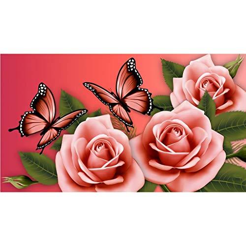 MXJSUA Kit completo per pittura con diamantini fai da te 5D, painting by numbers kit per dipingere con numeri diamond painting kit completo farfalle rose in cristallo decorazione da parete 40x30 cm