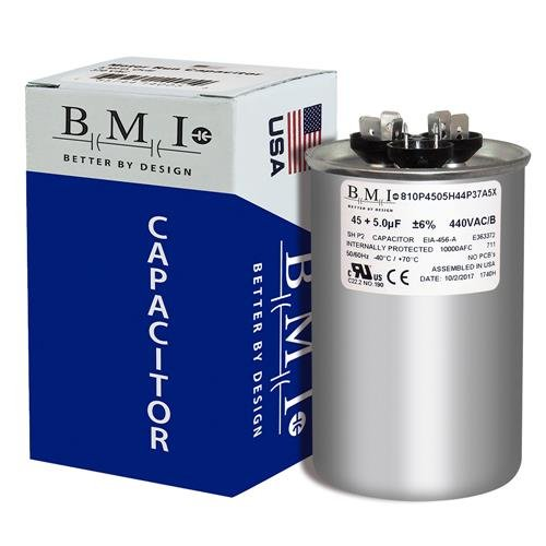 USA Capacitor 45+5MFD 440/370V Round Run Capacitor Replaces PRCFD455 Packard TRCFD455