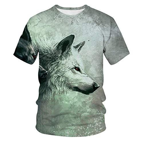 Camiseta con Estampado Digital 3D De Wolf Pack Verano Casual Hombre De Manga Corta Pareja Tops