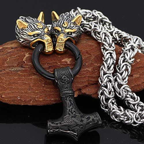 LRKZ Collar con colgante de martillo de Thor con cabeza de lobo vikingo de acero inoxidable, joyería pulida, amuleto, regalo retro, cadena pesada, amuleto de joyería de Mjolnir, negro, 60 cm
