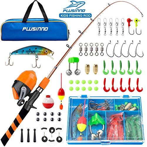 PLUSINNO Kids Fishing Pole, Portable...