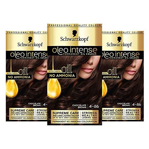 Schwarzkopf Oleo Intense Brown Haarfarbe, 3er Pack Permanente Ölfarbe, ohne Ammoniak, deckt Grau ab, 4-86 Schokoladenbraun