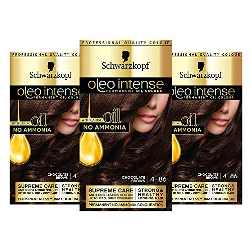 Schwarzkopf Oleo Tinte para el cabello marrón intenso, paquete de 3 colores al óleo permanentes, sin amoníaco, cubre grises, 4-86 marrón chocolate