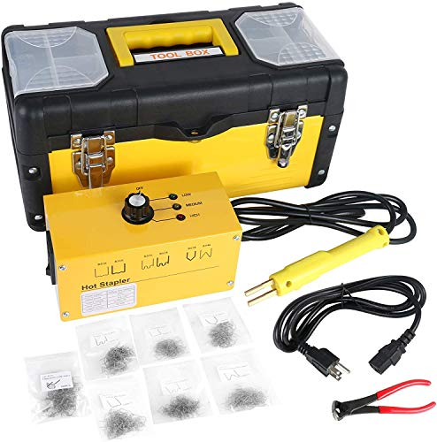 PLAYOCCAR Auto Plastic Bumper Repair Welder Kit, 110V Car Plastic Welding Machine Hot Stapler Gun Tools Kits with 700PCS Staples