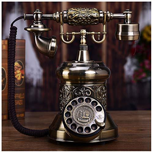 Brons High-end vintage metalen platenspeler telefoon Europese antieke retro code telefoon huis creatief vast net