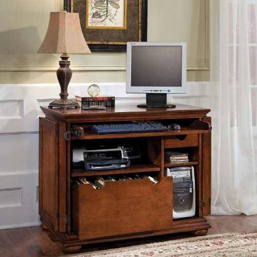 Big Sale Best Cheap Deals Home Styles 5527-19 Homestead Compact Office Cabinet, Distressed Warm Oak Finish