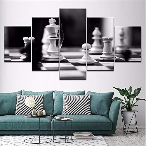 Wuwenw Leinwandbilder Für Wohnzimmer Dekor 5 Stücke Schwarzweiß Schachbilder Hd Drucke Spiel Poster Modulare Wandkunstrahmen, 16X24 / 32 / 40Inch, Ohne Rahmen