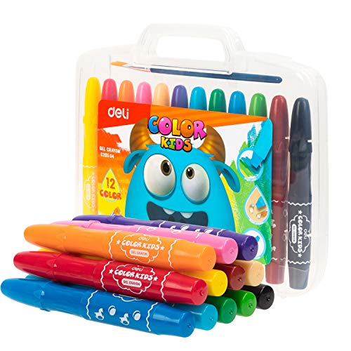 Deli Crayons, 12 Color Washable Twisted Gel Stick Set for Toddler, Non-Toxic, Silky Crayons for Painting Supplies, Art Coloring