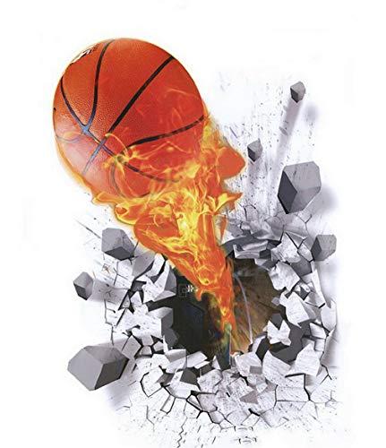 Bigood Imprimé 3D Basketball Autocollant Créatif 50*70cm Écologiste Décoration