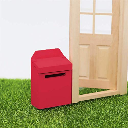 Hieefi 1:12 Scale Puppenhaus Briefkasten Puppenstuben Zubehör Miniatur-Briefkasten-Hausgarten-Dekoration Puppenhaus Spielzeug Rot