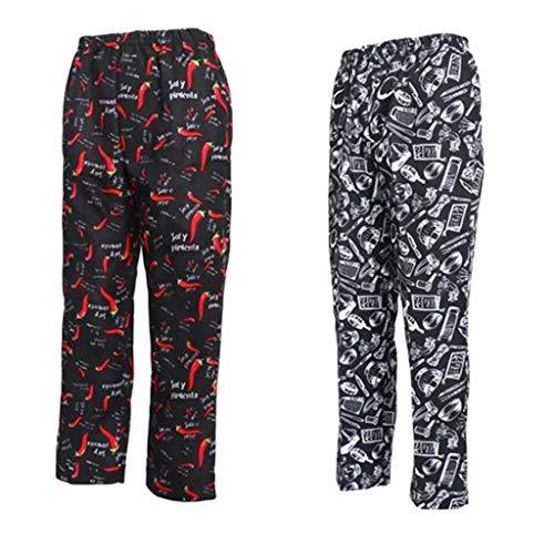 Almencla 2Pcs Pantalones de Cocinero Holgado Cintura Elástica Casual Uniforme de Camarero Panadero Ropas de Trabajo Unisex