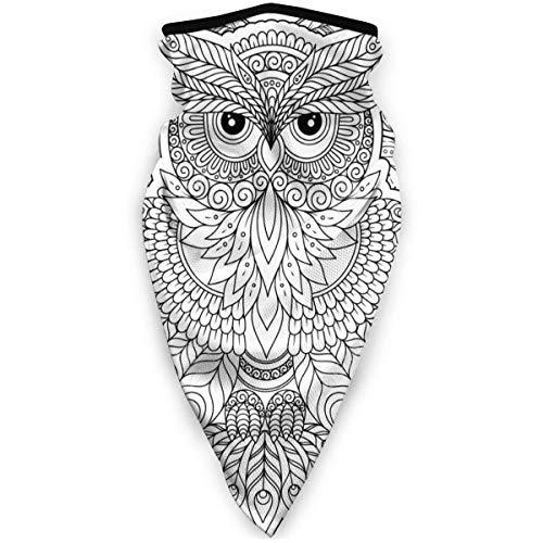 Ahdyr Neck Gaiter Magic Face Cover Scarf Dust Wind Bandana Balaclava Headwear for Cycling Black White Owl Coloring Book