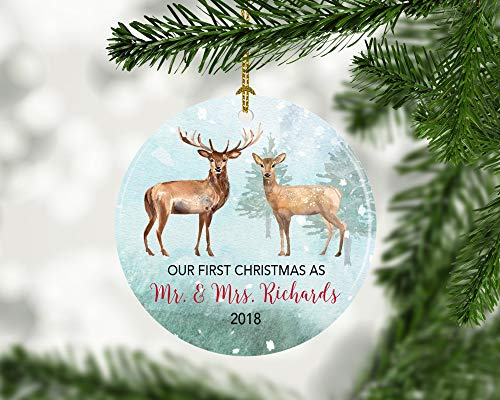 Lplpol Our first christmas married christmas ornament Deer and doe first year married ornament Personalized New Couples