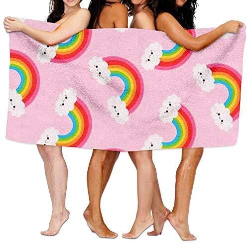 winterwang Serviette de plage unisexe Rainbow Pink Serviette de bain pour adolescent fille adulte Serviette de voyage gants de toilette 31 x 51 pouces