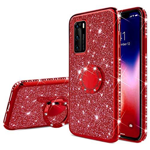 Compatible avec Huawei P40 Coque Silicone Brillant Bling Glitter Paillette Strass Housse de Peotection,JAWSEU Ultra Mince Flexible Souple TPU Antichoc Coque Etui pour Huawei P40,Rouge