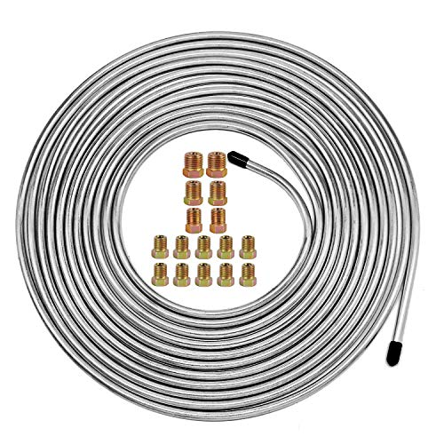 25 Ft. of 3/16 Zinc-Coated Brake Line Tubing Kit - Muhize 25 ft 3/16 Steel Tube Roll (Includes 16 Fittings)