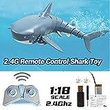 Telisii Juguete de tiburón 2020 con control remoto mejorado, simulación de 2,4 G, juguete de tiburón de tiburón teledirigido, recargable, resistente al agua, 4 canales, para baño, color azul