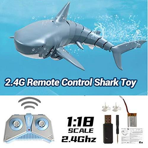Telisii 2020 Verbessertes ferngesteuertes Hai-Spielzeug, 2,4-G-Simulation ferngesteuertes RC-Hai-Bootsspielzeug, wiederaufladbarer wasserdichter 4-Kanal-Hai für das Bad im Badezimmer Blau