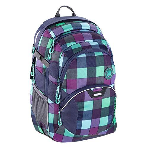 """coocazoo Schulrucksack JobJobber """"Green Purple District"""" lila-grün, ergonomischer Tornister, höhenverstellbar mit Brustgurt und Hüftgurt für Jungen ab der 5. Klasse, 30 Liter"""
