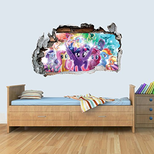 GNG My Little Pony Vinyl Smashed Wandkunst Aufkleber Aufkleber Schlafzimmer Jungen MäThor's Hammerhen 3D