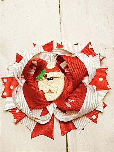 Christmas Hair Bow Holiday Hair Bow Santa Hair Bow Girl Christmas Outfit Toddler Christmas Dress Blue Christmas bow Stocking Stuffers