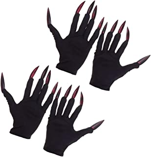ABOOFAN 2 Pairs Halloween Costume Gloves Red Ghost Nail Gloves Gloves with Golden Pink Nails