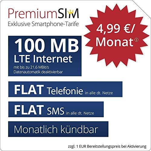 PremiumSIM LTE XS Allnet Flat - monatlich kündbar (FLAT Internet 100 MB LTE mit max. 21,6 MBit/s mit deaktivierbarer Datenautomatik, FLAT Telefonie, FLAT SMS und EU-Ausland, 4,99 Euro/Monat)