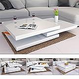 Deuba Table Basse de Salon Blanc Moderne carré 80x80cm laquée Brillante rotative à 360° Charge Max. 20 kg Design innovant Table intérieur