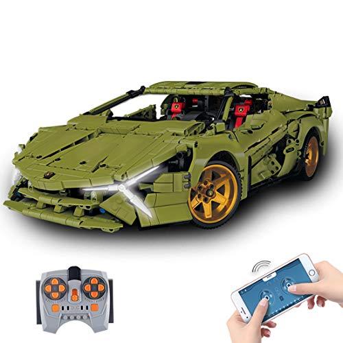 Technik Sportwagen Modell, 1:10 Ferngesteuertes Supersportwagen Racing Auto, Rennauto Bausatz Kompatibel mit Lego Technic - 2375 Teile