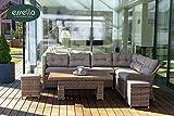 essella Gartenmöbel Set Polyrattan Sitzgruppe/Gartenlounge Atlanta 7-Personen Rundgeflecht (Sand) Gartentisch/Balkontisch/Terrassentisch/Outdoor Möbel